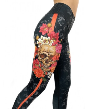 Leggings Flowers Skull
